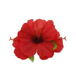 Haarspeld met rode bloem