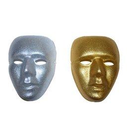 Funny Fashion masker zilver/goud glitter ass.