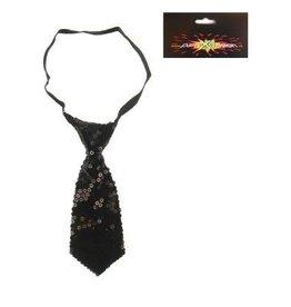 stropdas paillette zwart kort