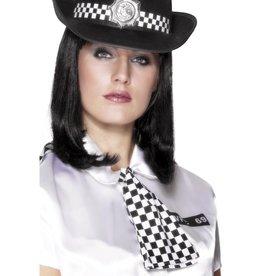 Smiffys Zwart/wit geblokte politiedas