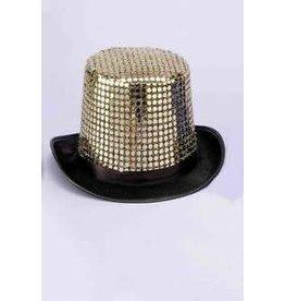 hoge hoed glitter goud of zwart