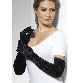Smiffys Velveteen Gloves Black / zwarte handschoenen fluweel