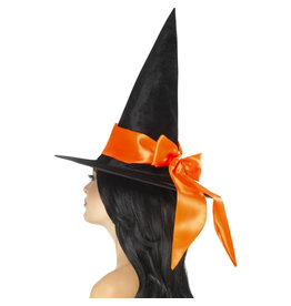 Deluxe Witch hat with orange bow