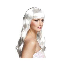 boland pruik lang haar wit