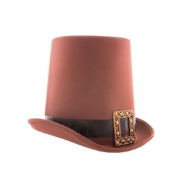 Funny Fashion hoge hoed bruin 20 cm
