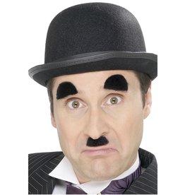 Chaplin snor en wenkbrauwen zwart