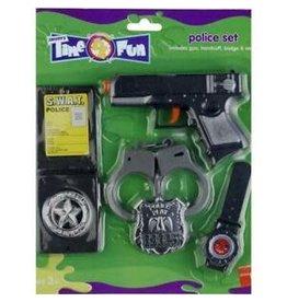 police set (revolver, badge, handboeien, horloge)