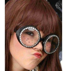 bril rond met strass