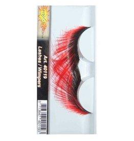 wimpers zwart rood