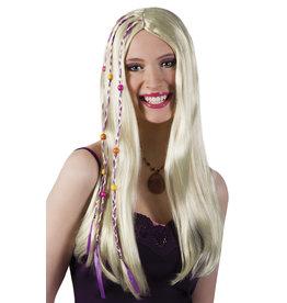 boland Hippie pruik blond met kralen