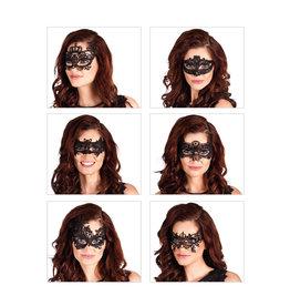 oogmasker zwart kant 6 ass.