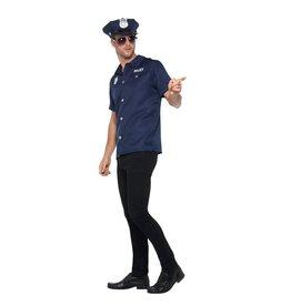 Smiffys US Cop Politie Hemd, kepie & bril