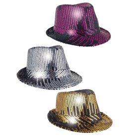 Funny Fashion glitter borsalino zwart/roze