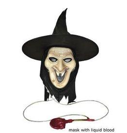 Funny Fashion Masker heks met hoed en bloedspuiter