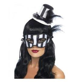 Smiffys Burlesque set oogmasker met mini hoedje op diadeem