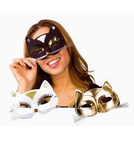 boland Oogmasker Kat zwart, wit of goud