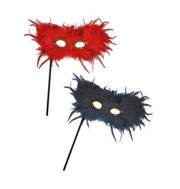 pluimen oogmasker rood op stokje
