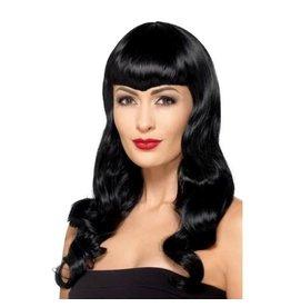 Smiffys Deluxe wavy wig black