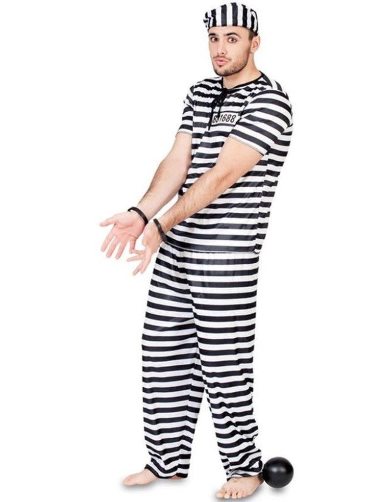 ABC-karnaval Gevangene zwart/wit Vest, broek en pots