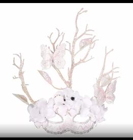 Oogmasker bloemen vlinder wit