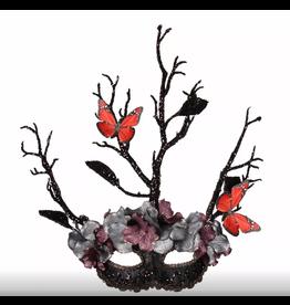 Oogmasker bloemen vlinder zwart