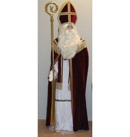 Sint fluweel met cape Wijnrood