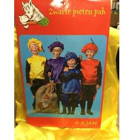 Pietenpak 4-6 jaar Geel, Paars of rood met zwarte mouwen en broek