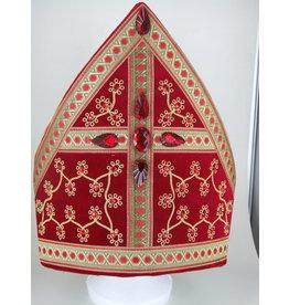 Sint Luxe Mijter geborduurd met rode steentjes Rood Fluweel Sinterklaas