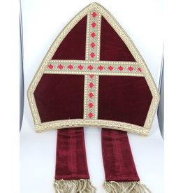 Sint Mijter fluweel rood Sinterklaas
