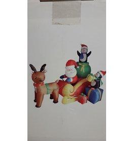Kersttafereel opblaasbaar Kerstman Rendier slee