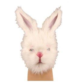 latex masker konijn wit met pels