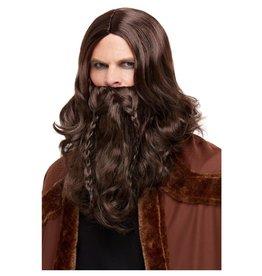 viking baard en pruik set