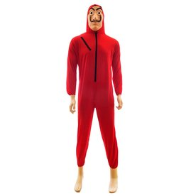 Funny Fashion overall rood met masker XXL