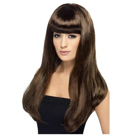 Babelicious wig brown lange pruik bruin