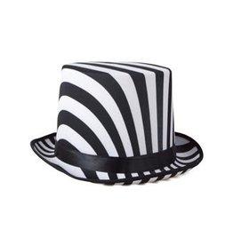 Funny Fashion hoge hoed zwart wit gestreept 60 cm