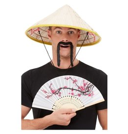 Oriental kit Chinese hoed met waaier en snor