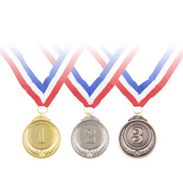 3 medailles 1-2-3 Brons Zilver Goud