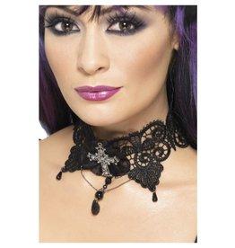 Smiffys Gothic Lace Choker Halsband kant