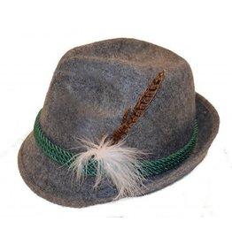 Tiroler hoed grijs met pluim
