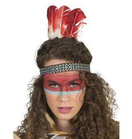 indiaan hoofdtooi rood met witte veren