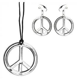 set peace ketting + oorbellen
