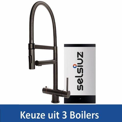 Kokendwaterkraan XL Gun Metal Inclusief Boiler (Keuze uit 3 boilers)