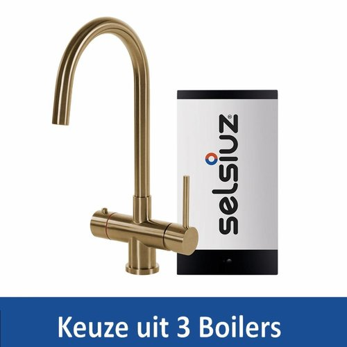 Kokendwaterkraan Steel Rond Gold Inclusief Boiler (Keuze uit 3 boilers)