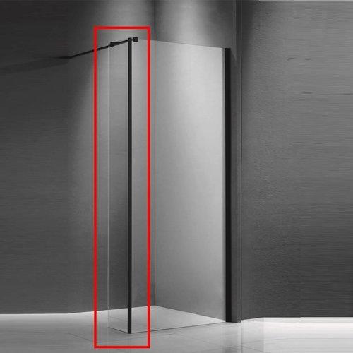 Zijwand voor Inloopdouche Helder Glas met Mat Zwart Profiel 30x200cm 8 mm