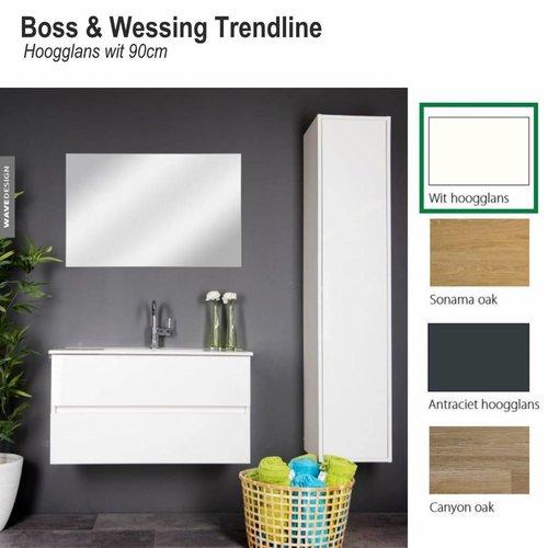 Badmeubel Trendline 90cm Hoogglans wit Softclose (Verschillende wastafels en spiegels mogelijk)