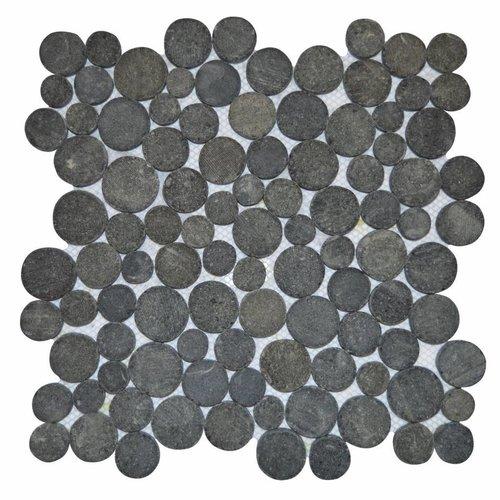 Mozaïek Coin Black Gray Lava/Riverstone 30X30 Cm (Prijs Per 1M²)
