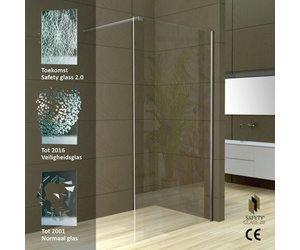 Aqua splash safety glass 2.0 inloopdouche muurprofiel 10mm nano
