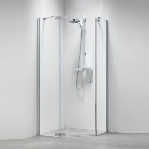 5-Hoek Douchecabine Custom Links 100X100Cm Zilver Hoogglans Helder Glas