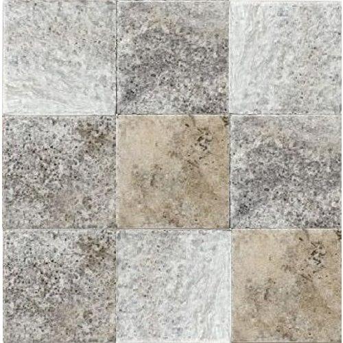 Silver Travertin / Apulia Grigio Anticato 10X10X1, Getrommeld / Verouderd P/M²