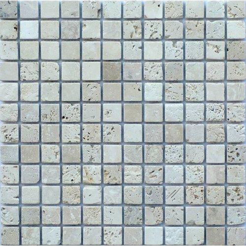 Classic Travertin / Apulia Ivory (Beige) Anticato 2,3X2,3X1, Getrommeld / Verouderd (Prijs per Matje)